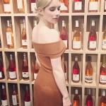 Emma Roberts, Elizabeth And James Marbella Off Shoulder Knit Dress in Cinnamon (Instagram January 21, 2017)