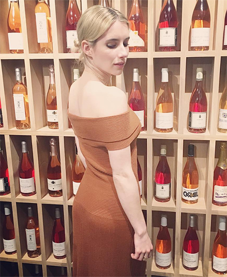 Emma Roberts, Elizabeth And James Marbella Off Shoulder Knit Dress in Cinnamon (Instagram January 21, 2017)