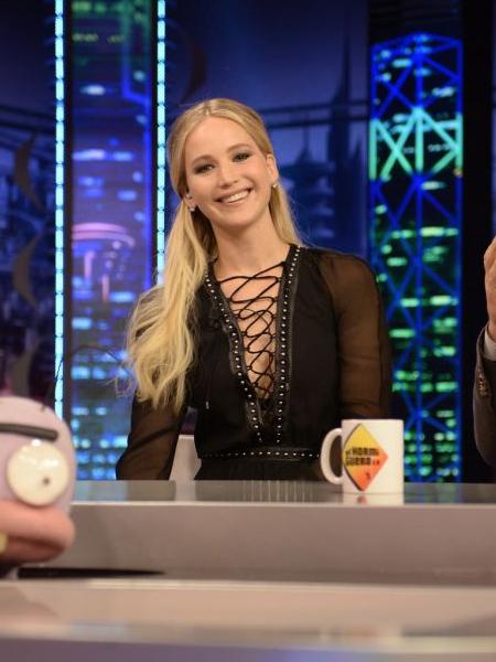 Jennifer Lawrence in Altuzarra Millows Lace-up Stud-embellished Dress on El Homiguero TV Show in Madrid December 15, 2016