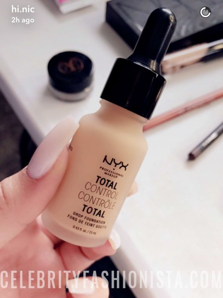 Nicole Guerriero, NYX Total Control Drop Foundation in Medium Olive (Snapchat January 12, 2017)