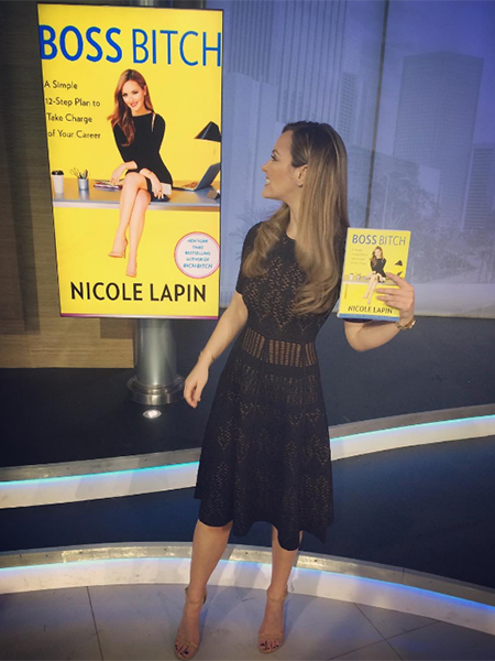 Nicole Lapin in A.L.C. Grayson Knit Fit & Flare Dress on Good Day LA (Instagram, Feb 21 2017)