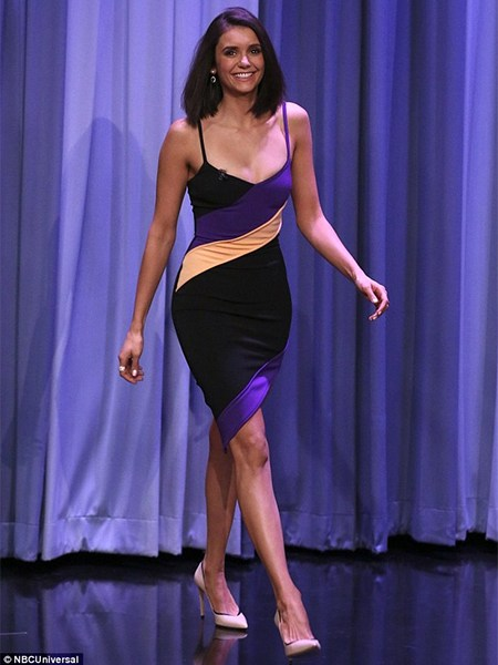 Nina Dobrev in David Koma Diagonal Stripes Asymmetric Dress on The Tonight Show Starring Jimmy Fallon (Jan 17, 2017)