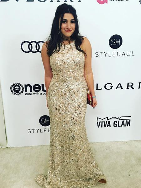 Dana Gaier In Matthew Christopher Dress At 2017 Elton John Aids Foundation Oscar Party