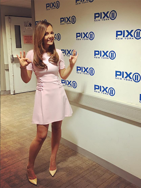 Nicole Lapin in Cushnie et Ochs Pink Short-Sleeve Cady Lace-Up Dress on PIX11 New York - March 23, 2017