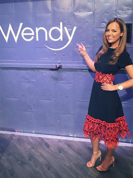 Nicole Lapin in Jonathan Simkhai Embroidered Trim Fit & Flare Dress on Wendy Williams Trendy @ Wendy March 20, 2017