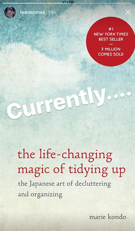 Leann Rimes, The Life-Changing Magic of Tidying Up by Marie Kondo book (Instagram Story March 2017)