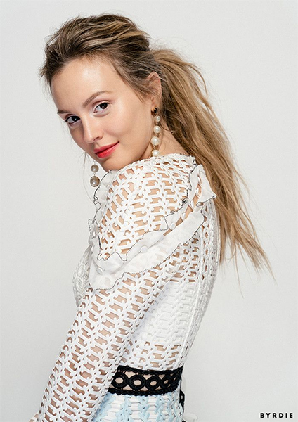 Leighton Meester x Byrdie Self-Portrait Frill-Trim Paneled Lace Dress
