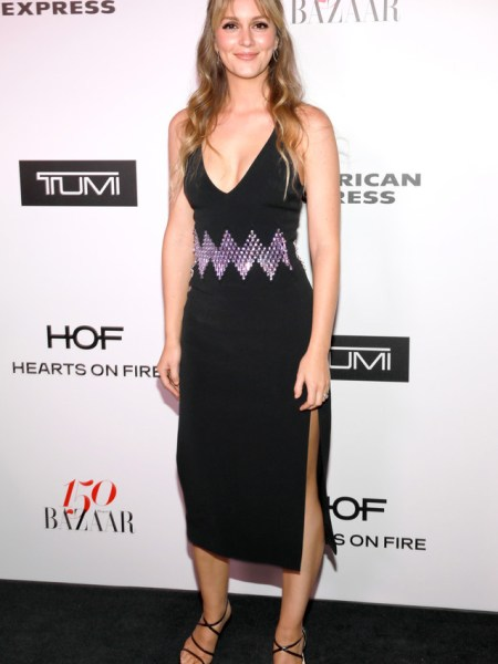 Leighton Meester in David Koma Zig-Zag dress at Harpers BAZAAR Celebrates 150 Most Fashionable Women (Jan 27, 2017)