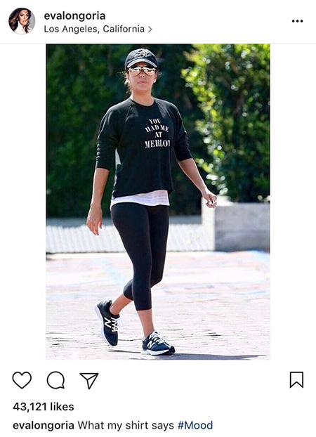 Eva Longoria, Tyler Jacobs You Had Me At Merlot Starria Pullover (Instagram March 28, 2017)