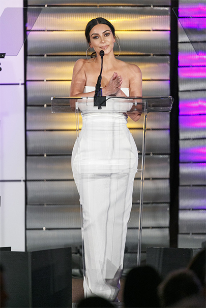Kim Kardashian in Rick Owens Strapless Off-the-shoulder Gown at Family Equality Council's Impact Awards on March 11, 2017
