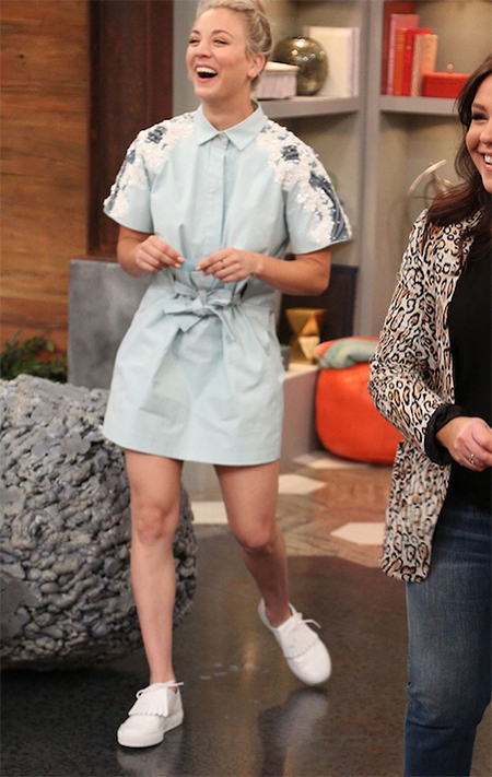 Kaley Cuoco in embroidered shoulder tie front shirtdress and Robert Clergerie Tolka Sneakers on Rachael Ray (May 10, 2017)