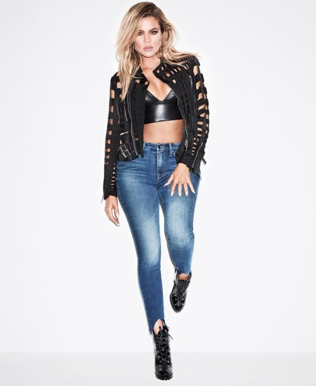 Khloe Kardashian Good American Campaign 2017 Good Legs Front Triangle Jeans in Blue067