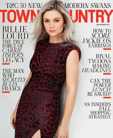 Billie Lourd covers the September 2017 issue of Town & Country magazine, wearing a dark red, leopard print Michael Kors Collection Embellished Leopard Sheath Dress.
