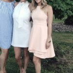 Kristin Cavallari attends her sister-in-law Jenna Cutler's wedding rehearsal wearing a cute and feminine blush colored C/meo Collective Fools Gold Mini Dress and Aquazzura Beverly Hills Suede Sandals.