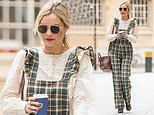 Laura Whitmore looks typically chic in plaid dungarees as she arrives at her BBC Radio 5 Live show