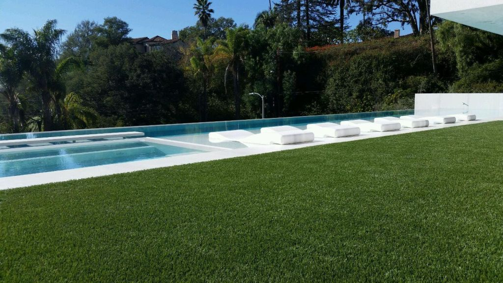 Modern landscaping with synthetic grass.