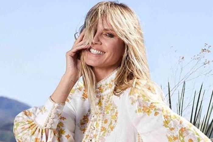 Heidi Klum Puts On A Racy Display In A Custom Marigold Michael Costello Dress