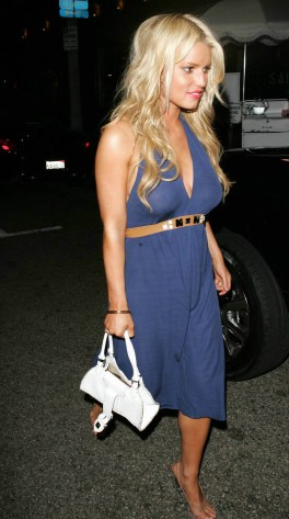 Jessica Simpson Leaving the Ivy in a see thru dress Los Angeles, CA 07/31/06
