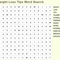 Weight Loss Tips Word Search