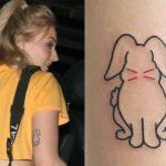 Sophie Turner back of upper right arm rabbit tattoo
