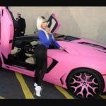 Nicki Minaj with her Lamborghini Gallardo