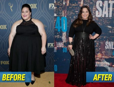 Before and After weight loss comparison of Chrissy Metz