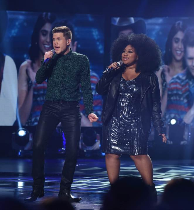 AMERICAN IDOL: Contestant Trent Harmon and Contestant La'Porsha Renae open the AMERICAN IDOL Finale airing Thursday, April 7 (8:00-10:06 PM ET Live/PT tape-delayed) on FOX. © 2016 FOX Broadcasting Co. Cr: Ray Mickshaw/FOX