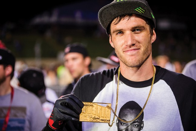 Colton Satterfield poses with his second gold medal. (Photo courtesy of Monster Energy)