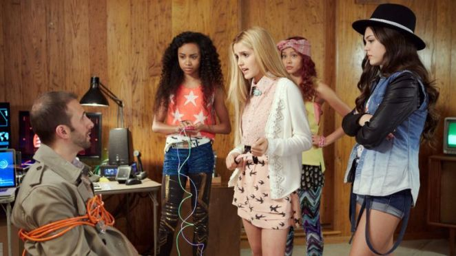"Photo by Netflix shows Genneya Walton, Victoria Vida, Ysa Penarejo, and Mika Abdalla in a scene from ""Project Mc2."""