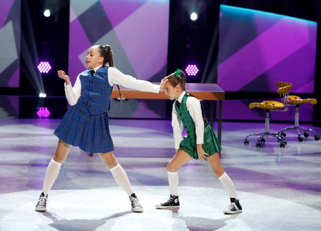 "SO YOU THINK YOU CAN DANCE: L-R: Top 8 contestants Tate McRae and Emma Hellenkamp perform a Broadway routine to ""Act One: Trouble"" choreographed by Sean Cheesman on SO YOU THINK YOU CAN DANCE airing Monday, August 1 (8:00-10:00 PM ET live/PT tape-delayed) on FOX. ©2016 FOX Broadcasting Co. Cr: Adam Rose"