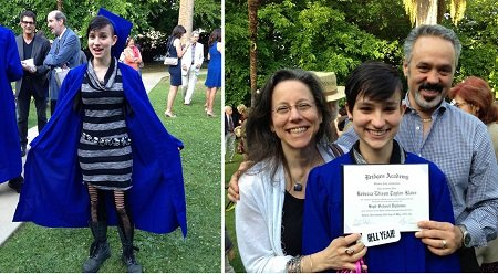 Bex Taylor-Klaus with their parents, father and mother, during their high school graduation.