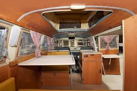 Inside one of Fluffy's Volkswagen bus.