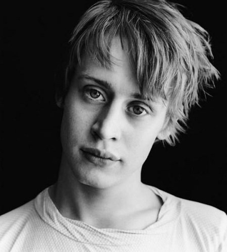 Macaulay Culkin B/W headshot. He was once arrested for drug possession.