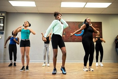 Jalaiah Harmon teaching her friends the Renegade at the Sky Dance Academy studio, where she takes classes.