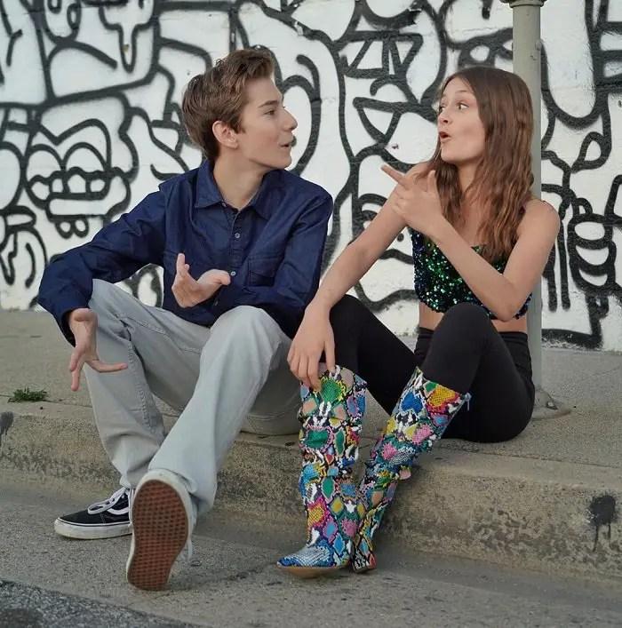 Sophie Fergi & Sawyer Sharbino in a seemingly arguing pose.