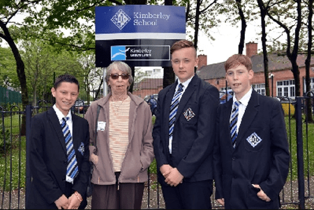 Daniel Frogson and his friends helped an elderly woman.