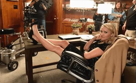 Emily Osment on the set of Christmas Wonderland.