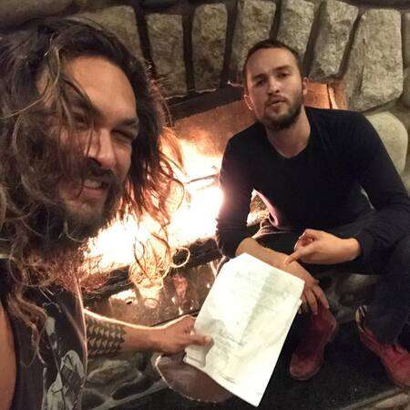 Mojean Aria with his 'See' co-star Jason Momoa.