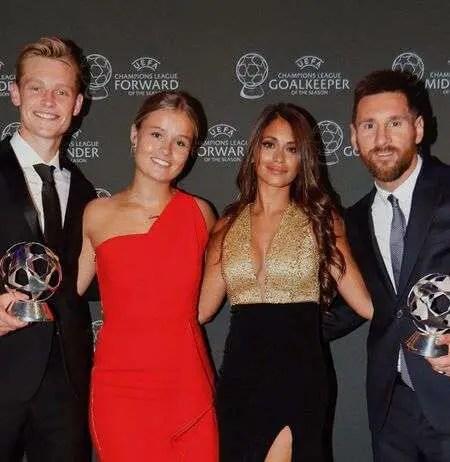 Frenkie de Jong and his girlfriend Mikky Kiemeney with Lionel Messi and his wife Antonella Roccuzzo.