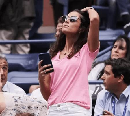 Xisca Perello watching a game of her boyfriend Rafael Nadal.