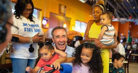 Joe Morrissey with his wife Myrna Pride and kids.
