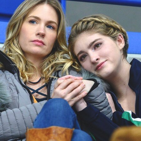 Willow Shields and January Jones as Serena Baker and Carol Baker in 'Spinning Out' (2020).