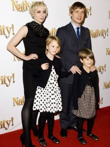 Martin Freeman and his former wife Amanda Abbington, with their kids, Joe Freeman (son) and Grace Freeman (daughter).