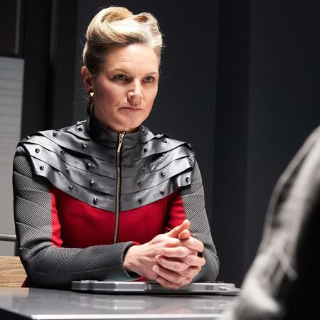 Kate Drummond as Authority Phydra on the Hulu Original series 'Utopia Falls' (2020).