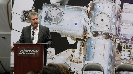 Robert Bigelow during conference for NASA.