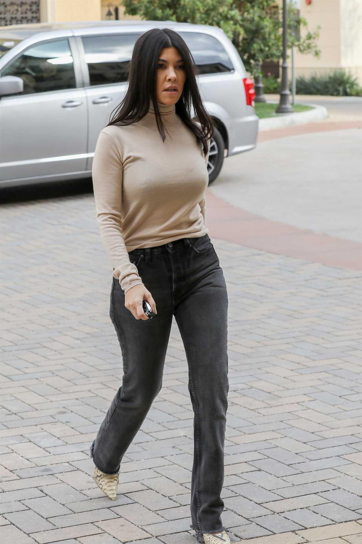 Kourtney Kardashian In A Beige Turtleneck Was Seen Out In