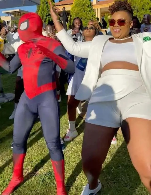 Video: Spider-Man shows up at Anele Mdoda's birthday party and it was lit
