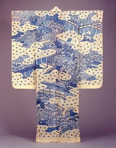 白麻地御殿模様茶屋染帷子 18世紀後半~19世紀前半 江戸東京博物館/所蔵