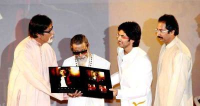 Aditya Thackeray with Amitabh Bachchan, Bal Thackeray and Uddhav Thackeray at the launch of Ummeed