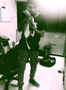 Abhishek Upmanyu with her cat